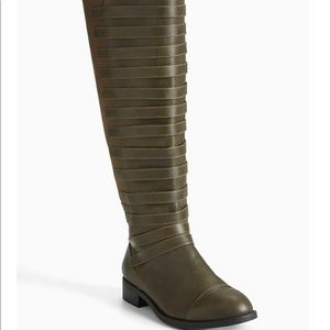 Torrid Olive Strappy Front Knee Boots